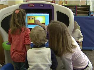 Students in 10 Wake County preschoool classrooms have been learning on KidSmart computers provided by an IBM grant.