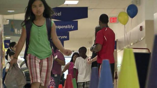 More than 150,000 Wake County children joined 1.5 million North Carolina students heading back to school on Monday, Aug. 27, 2012, the first day of classes for traditional-calendar schools.