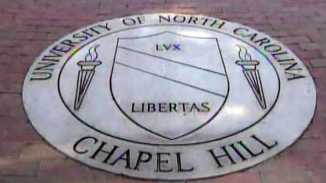 UNC-Chapel Hill seal on sidewalk