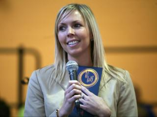 Tiffany Lachenmayr, a fourth-grade math and science teacher at Timber Drive Elementary School in Garner, receives a national teaching award on Wednesday, Nov. 14, 2012.