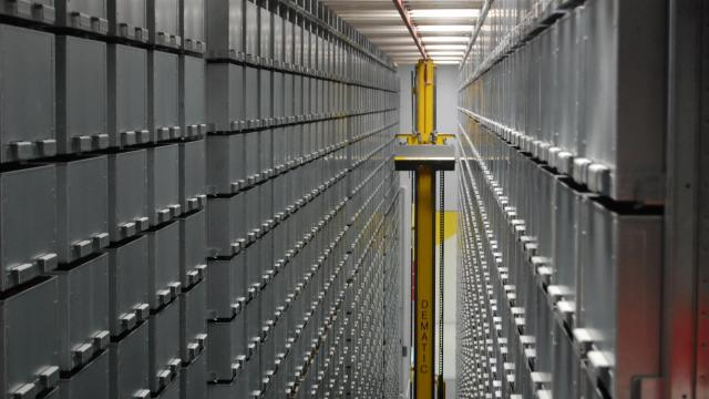 North Carolina State University's state-of-the-art bookBot automated book delivery system inside the new James B. Hunt Jr. Library. The library will contain up to 2 million volumes.