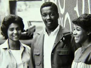 "Three members of the ""First Five,"" the black undergraduate students who integrated Duke University in 1963."