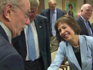 Dr. Carol Folt, right, was greeted with enthusiasm at UNC.