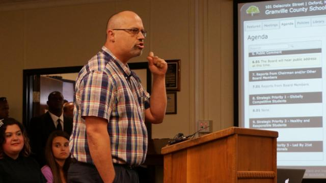 Jeffrey Grigg, of Oxford, speaks at the Granville County school board meeting on June 2, 2014.