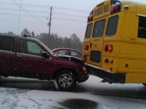 A Moore County school bus was involved in a crash when a vehicle rear-ended it, but there were no reports of injuries to students on the roads. (Photo by Christie Hepfner)