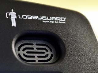This is a closeup of the LobbyGuard machine at the Wake County Public School Systems' offices.