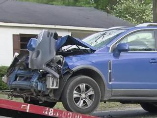 Fayetteville police are looking for the person who was driving this car when it rear-ended a school bus Friday afternoon.