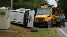 IMAGES: School bus, SUV carrying students collide in Knightdale