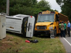 A school bus and an SUV carrying students collided Wednesday morning in Knightdale.