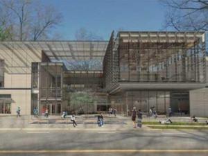 An artist's rendition of the new Duke arts center.