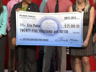 "Chatham County teacher Eric Patin received the ""Oscar"" of teaching awards Thursday morning along with a $25,000 check."