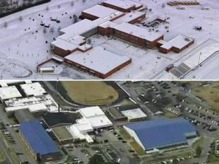 In Granville County, the high school remained in accessible under a blanket of snow and ice while Johnston County schools and roads were open.