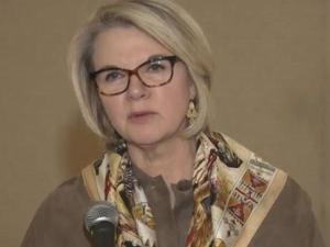 UNC President Margaret Spellings speaks to reporters in Greensboro.