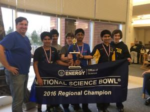 The Ligon Middle School team, made up of Quinn Gebeaux, Aman Kapoor, Subhag Kotrannavar, Rohan Pasi and Ekartha Sharma, will compete in the finals of the National Science Bowl. (Photo courtesy Steven Gebeaux)