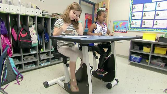 A Virginia school is incorporating fitness into their classrooms with pedal desks, standing stations and tiny ball chairs. The mindset takes the approach that kids who move more, learn better.
