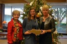 Jeani Allen (center), director of internal auditing for the North Carolina Department of Public Instruction, poses with her award alongside State Superintendent June Atkinson (left) and State Auditor Beth Wood (right).