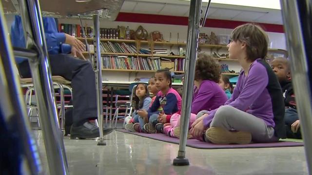 Classroom, students seated, kindergarten