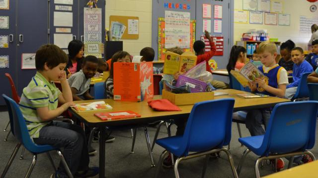 A first-grade class at Snow Hill Primary School in Greene County (Photo credit: Alex Granados/EducationNC)