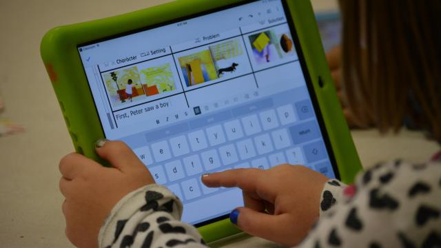 A student uses an iPad at Ephesus Elementary School in Chapel Hill.