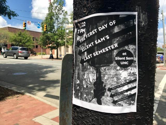 Flyers circulating the UNC-Chapel Hill campus indicate that a rally is planned for Tuesday evening at the university's Silent Sam statue.