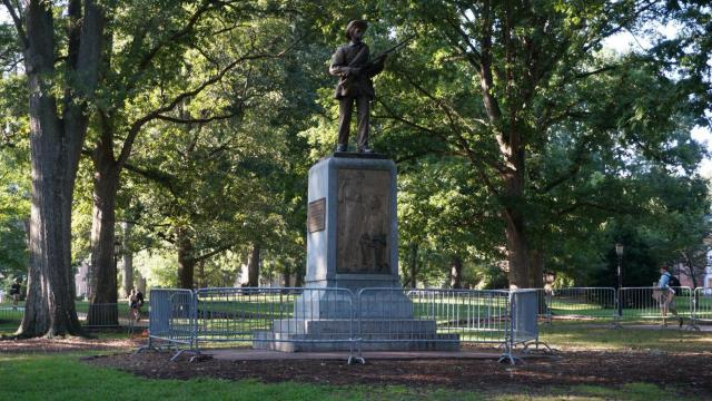 Barrier placed around UNC 'Silent Sam' statue