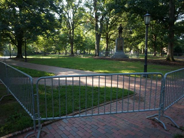 Barrier placed around UNC 'Silent Sam' statue