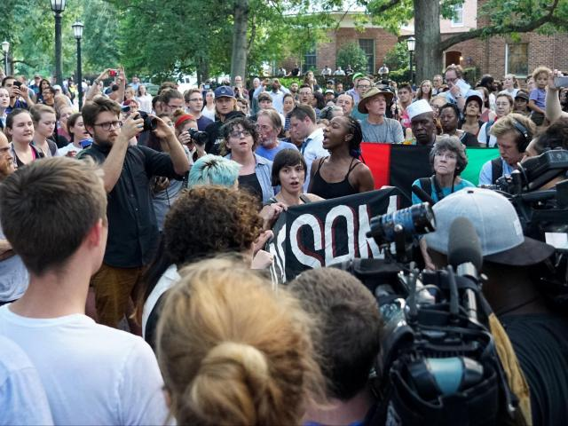 Unc Student Arrested After Hundreds Protest At Chapel Hill Silent Sam Monument Wral Com