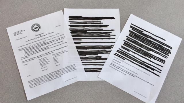 Minutes from an executive session held before the June 27, 2017, Charlotte-Mecklenburg school board meeting are typical: The purpose, location, time and attendees and the vote to adjourn are unredacted, with everything between blacked out. (Photo by Ann Doss Helms/The Charlotte Observer)
