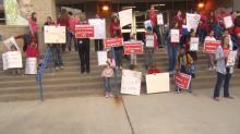 IMAGE: Durham teachers picket before school Wednesday