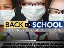 Back to school masked children