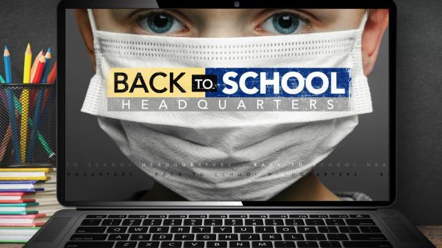 Back to school masked child