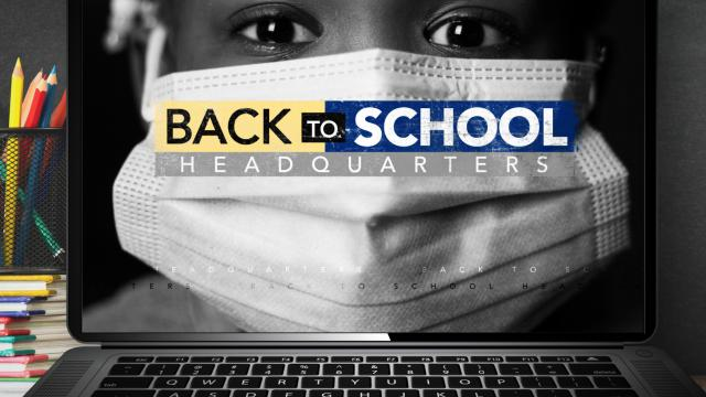Back to school masked child in black and white