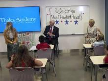 Pence, DeVos visit with Apex fourth-graders