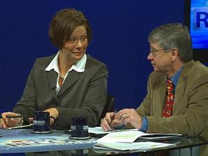 "District 3 Wake school board candidates Heather Losurdo and incumbent Kevin Hill during a taping of ""On the Record"" on Nov. 4, 2011."