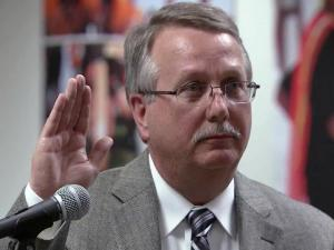 New Wake County Board of Education member Thomas Benton was sworn in on Feb. 19, 2013.