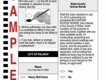 Sample Ballot with Wake County School Bond Question