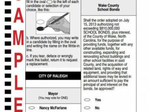 2013 Sample Ballot with Wake County School Bond Question
