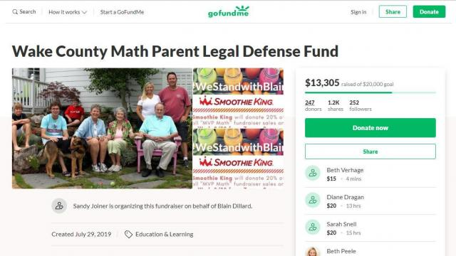 Go Fund Me for Wake parent Blain Dillard
