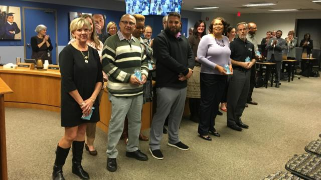 The Wake County Public School System honored 12 employees with excellence awards at the Nov. 19, 2019, school board meeting.