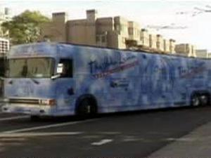The John Lennon Educational Tour Bus travels the country, visiting schools and events. The crew offers small groups of children hands-on experience in professional audio-recording and video-making for free.