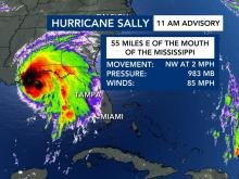 Hurricane Sally stats, Tuesday, Sept. 15, at 1 p.m.
