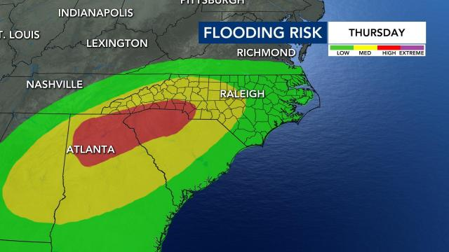 Forecast rainfall from Sally in NC