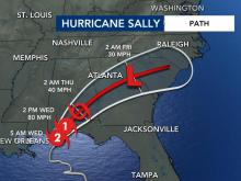 Parts of the WRAL Viewing area are in the path of Sally, according to the 5 a.m. adivsory 9/16