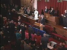 President Clinton addressing a joint assembly of North Carolina legislators.