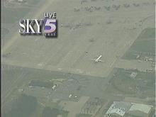 Sky-5 aerial shot of Delta plane that made an emergency landing at Seymour-Johnson AFB March 21.