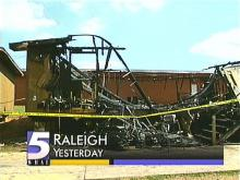 Smoke billows from a mobile classroom that was destroyed by fire. (WRAL-TV5)