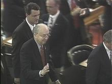 Senator Jesse Helms arrives to address NC Legislature