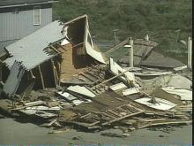 Coastal damage following Hurricane Fran
