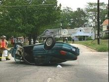 This driver of this car took a sharp curve at high speeds during a chase with police