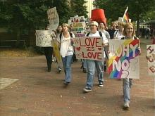 Students march around the UNC campus to express their open attitude about their sexuality.